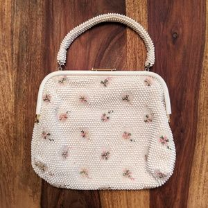 Vintage Beaded Pink Floral Purse White